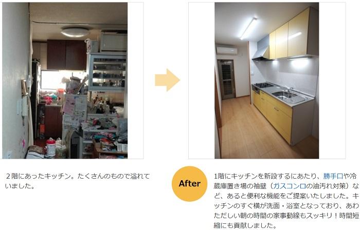 システムキッチン移動2階から1階