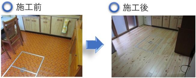 キッチンの床リフォーム事例